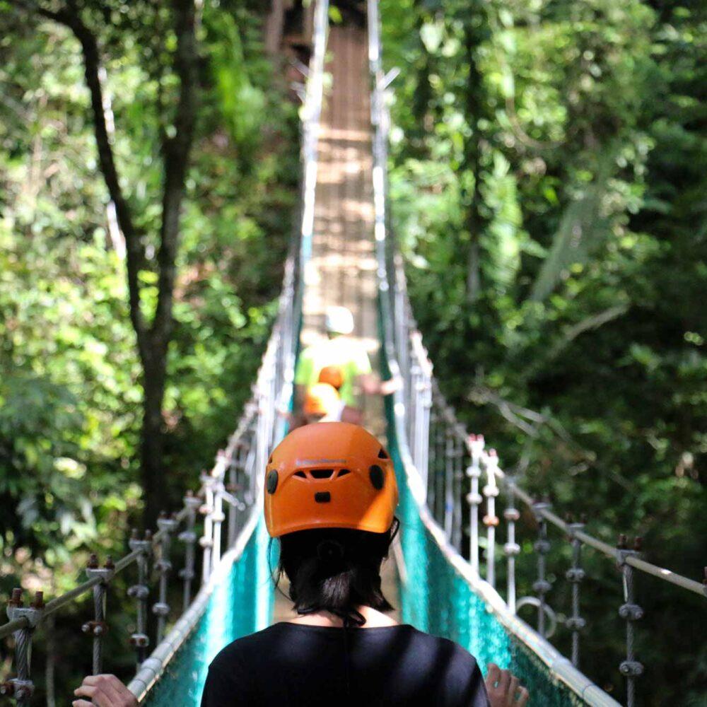 hikers walking on a suspension bridge in a jungle in belize
