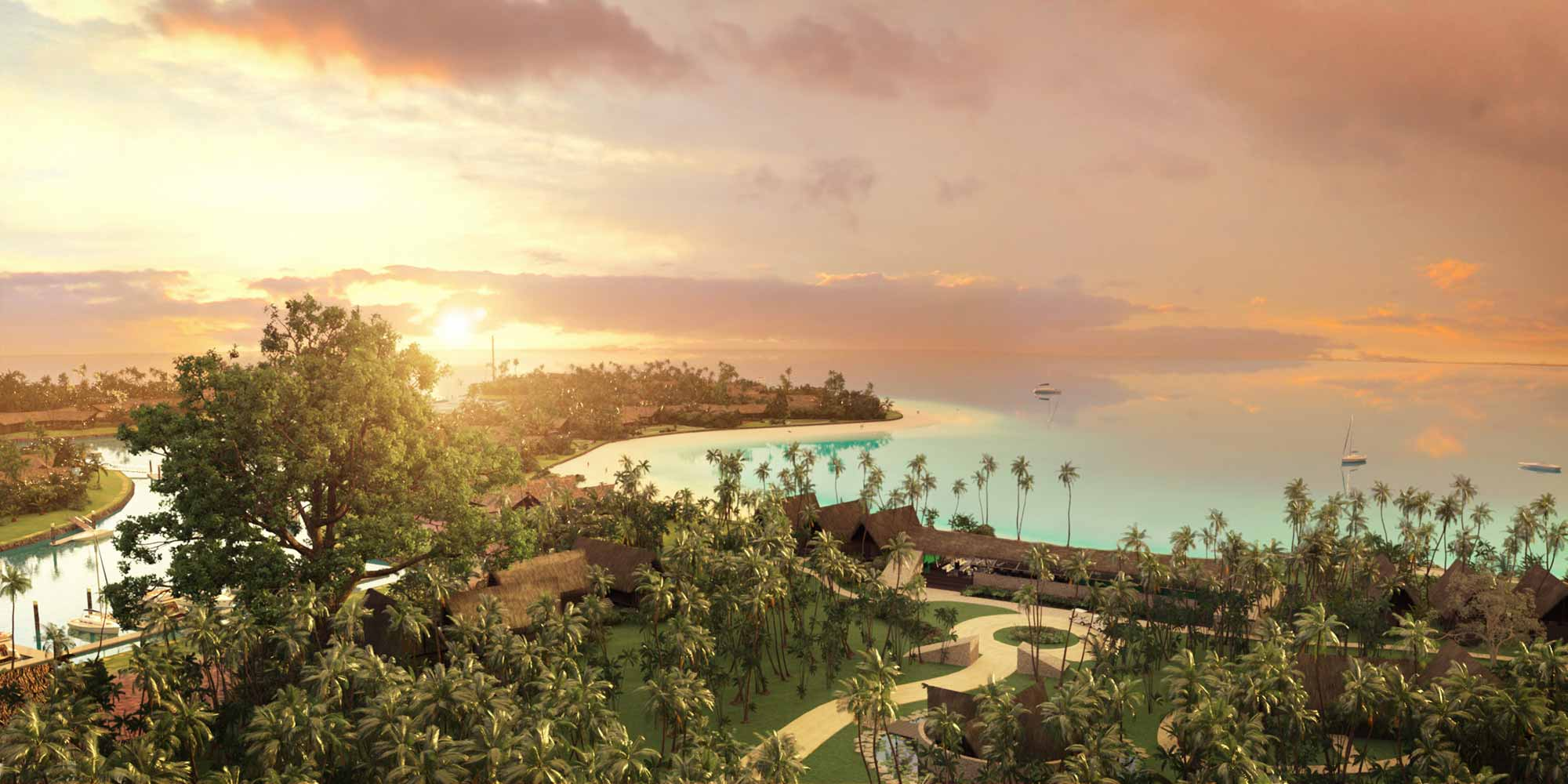 aerial sunset view of the six senses resort in fiji